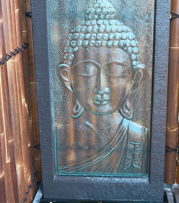 Large Buddha Head Fountain: Buddha Head Glass Wall Fountain